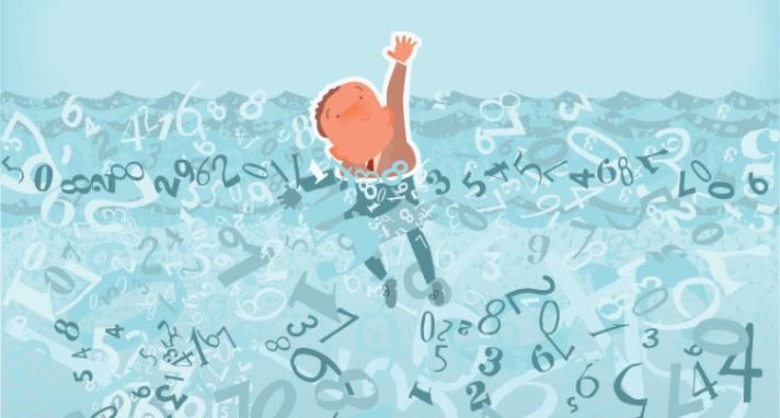 man in pool of data